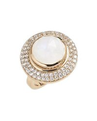 Melinda Maria | Metallic 'jade' Pave Stone Cocktail Ring - Moonstone/ Gold | Lyst