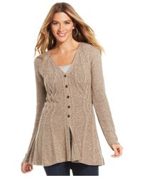 Style & Co. | Natural Marled Cable-knit Cardigan | Lyst