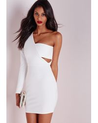 e85dc4528a23a Lyst - Missguided Crepe One Shoulder Bodycon Dress White in White