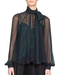 Sacai | Blue Luck Heart-print Tie-neck Blouse | Lyst