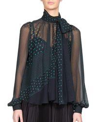 Sacai | Blue Luck Heart-print Tie-neck Blouse | Lyst