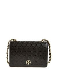 Tory Burch | Black 'Robinson' Perforated Leather Shoulder Bag | Lyst