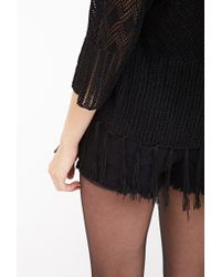 Forever 21 | Black Fringed Open-front Cardigan | Lyst