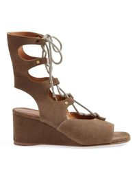 Chloé | Brown 'foster' Wedge Sandals | Lyst
