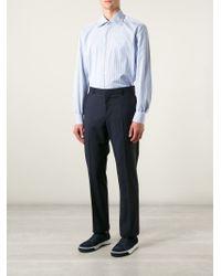 Kiton - Blue Striped Shirt for Men - Lyst