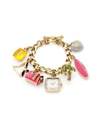 Juicy Couture | Metallic Womens Glam Charm Gold Ionplated Stainless Steel Bracelet 24mm | Lyst