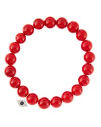 Sydney Evan | 8Mm Red Coral Beaded Bracelet With 14K White Gold/Diamond Small Evil Eye Charm (Made To Order) | Lyst