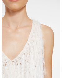 DKNY - White Delicate Fringe Pullover - Lyst