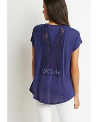 Forever 21 - Blue Embroidered-mesh Tee - Lyst