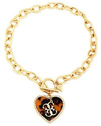 Guess | Metallic Gold-tone Chain Pendant Necklace With Epoxy And Clear Crystal Accents | Lyst