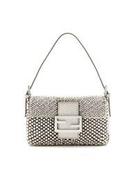 Fendi - Metallic Mini Baguette Embroidered Shoulder Bag - Lyst