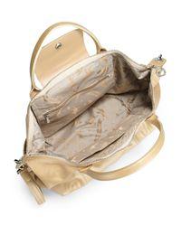 Longchamp - Natural Le Pliage Cuir Metallic Leather Top Handle Bag - Lyst