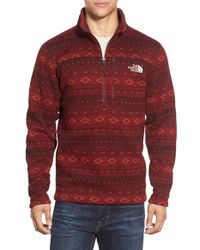 The North Face | Red Fair Isle Quarter Zip Fleece Sweater for Men | Lyst