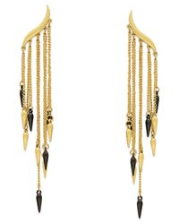 ABS By Allen Schwartz | Metallic Two-tone Chain Spike Drop Earrings | Lyst