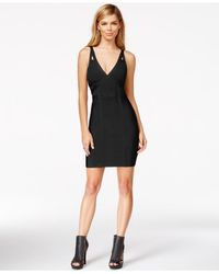 Guess | Black V-neck Bandage Dress | Lyst