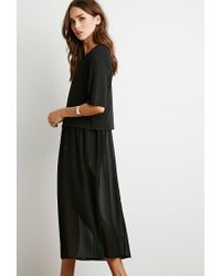 Forever 21 - Black Crop Top And Chiffon Dress Combo - Lyst