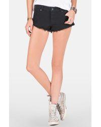 Volcom - Black 'yae' Denim Cutoff Shorts - Lyst