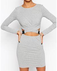 ASOS   Gray Cross Front Long Sleeve Mini Bodycon Dress   Lyst