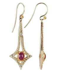Gurhan | Metallic Women's Shooting Star Ruby And Diamond 24k Gold Plated Silver Earrings | Lyst