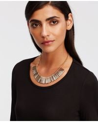Ann Taylor | Metallic Mixed Pave Bar Necklace | Lyst
