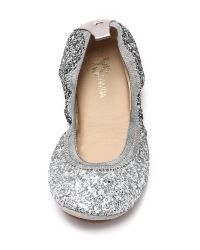 Yosi Samra | Metallic Serena Glitter Ballet Flats - Oxidized Gold | Lyst