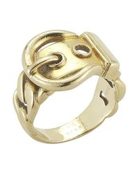 Hermès | Metallic Pre-owned: 18ky Gold Buckle Ring | Lyst