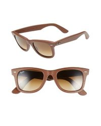 13194226c0 Lyst - Ray-Ban  classic Wayfarer - Leather  50mm Sunglasses in Brown