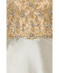 Reem Acra - Metallic Embroidered Illusion A-Line Gown - Lyst