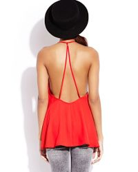 Forever 21 - Red Standout Caged Back Top - Lyst