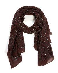 Balenciaga | Red Burgundy Petal Printed Cotton-silk Scarf | Lyst