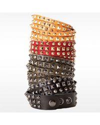 Linea Pelle | Gray Double Wrap Mixed Studded Bracelet | Lyst
