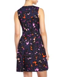 Vince Camuto - Multicolor Navy Floral Fit & Flare Knit Dress - Lyst