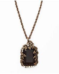 Ann Taylor - Metallic Botanical Stone Pendant Necklace - Lyst