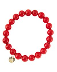 Sydney Evan - 8Mm Red Coral Beaded Bracelet With 14K Gold/Diamond Small Buddha Charm (Made To Order) - Lyst