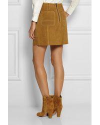COACH - Brown Suede Mini Skirt - Lyst