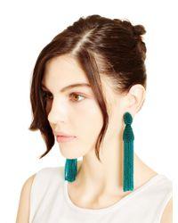 Oscar de la Renta | Blue Teal Long Beaded Tassel Earrings | Lyst