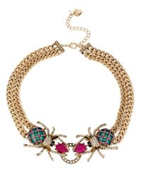 Betsey Johnson | Pink Multi Color Crystal Double Spider Frontal Necklace | Lyst