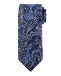 Ike Behar - Blue Medallion Paisley Silk Tie for Men - Lyst