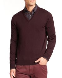 Saks Fifth Avenue | Purple Merino Wool V-neck Sweater for Men | Lyst