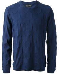 Emporio Armani | Blue Crew Neck Sweater for Men | Lyst