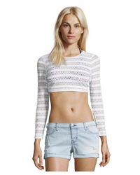 Vitamin A | White Crochet Striped 'Cannes' Cropped Rashguard | Lyst