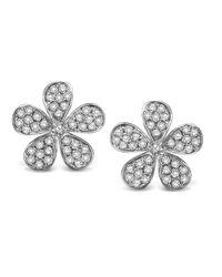 KC Designs | White 14k Gold And Diamond Flower Earrings | Lyst