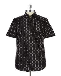 Guess | Black Patterned Sportshirt for Men | Lyst