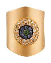 Ileana Makri | Metallic Mixed-gemstone eye Shield Ring | Lyst