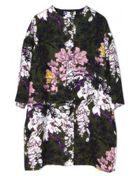 MSGM | Green Floral 3/4 Sleeve Coat | Lyst