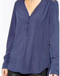 Esprit - Blue Lace Insert Blouse - Lyst