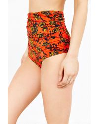Out From Under - Red Printed Ruched High-waisted Bikini Bottom - Lyst