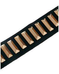 Mango - Black Leather Cuff with Oblong Stud Bracelet - Lyst
