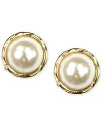 Anne Klein | Metallic Gold-tone Glass Pearl Twist Stud Earrings | Lyst