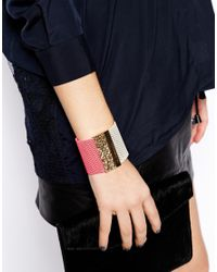 Ashiana - Neon Pink and Gold Cuff Bracelet - Lyst
